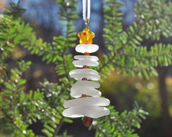 Genuine Sea Glass Delightful Tree Ornament Holiday Package Decor Stocking Stuffer White and Yellow Star Free Shipping Holiday Christmas Tree