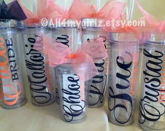 Set of 11 personalized Tumblers tall skinny Tumbler Bride bridesmaid Mother of the Groom tumbler bridal party gifts