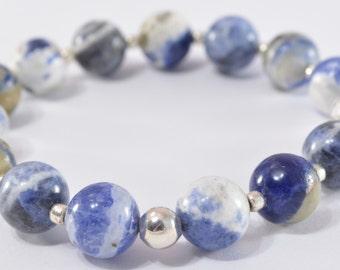 Sodalite Bracelet, Women's Bracelet, Bead Bracelet, Stone Bracelet, Stacking Bracelet, Beaded Bracelet, Gift for Her, Stretch Bracelet
