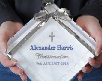 Personalised Christening Gift for Baby Boy or Girl, Embroidered Handkerchief Keepsake