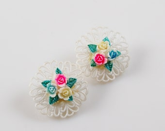 Vintage White Lucite Clip On Earrings with Spring Flowers