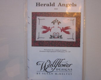 Herald Angels #505, Wallflowers Designs, Christmas Angel appliqued wall hanging, quilt, pattern