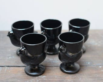 Vintage black chicken egg cups