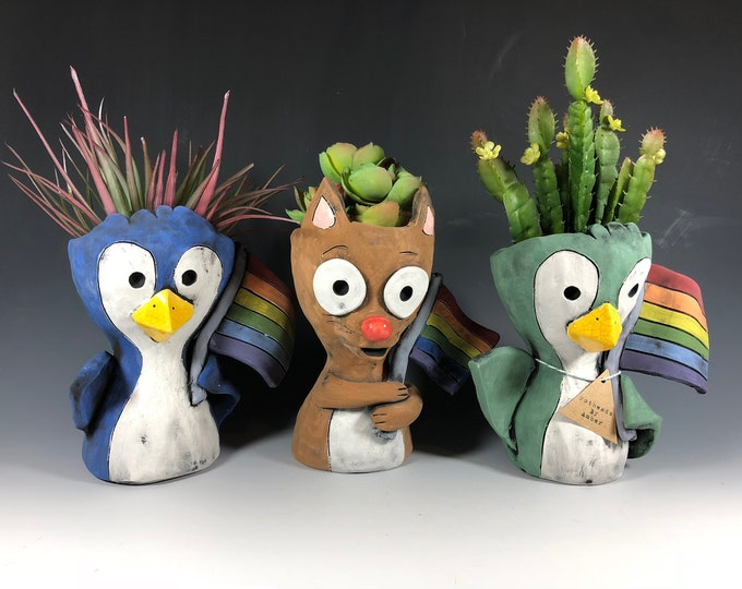 Love is Love Animals // Penguin // Cat // Succulent Pots // Planters // Unique // Small Sculptures // Adorable // Pride // Ceramic