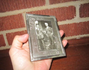 Vintage 1920s Standing Embossed Floral Silvertone Picture Frame