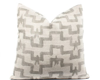 Boho Pillow Cover, Tulu, Khaki, Linen, Natural, 18x18, 20x20, 22x22, SKU041914