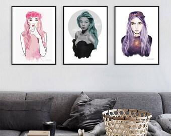victoria secret girls x 4 images, victoria's secret, print set, art print package, fashion sketch, feminism, girl power, cara delevingne