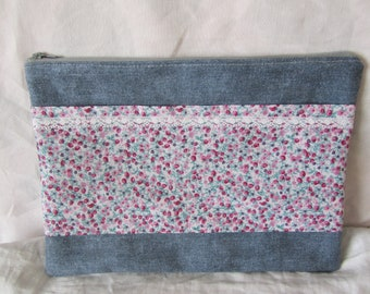 Cotton print and solid canvas pouch
