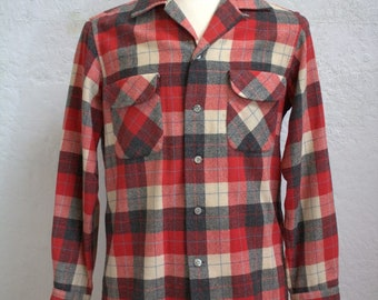 "1950's ""Santa Cruzer"" Men's Button Loop Plaid Wool Shirt in Red, Black, Cream, and Blue / Size: Medium"