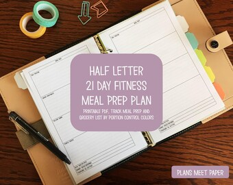 PRINTABLE Half Letter 21 Day Fitness Portion Control Meal Prep and Grocery List