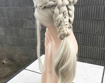 DELUXE Daenerys Targaryen Season 7 Ponytail Lace Front Wig Costume