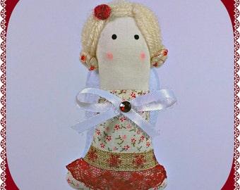 Christmas Angel Ornament, Burgundy Christmas Ornament, Decoration, Figurine, Doll, Handmade Fabric Felt Decor, Home Holiday