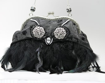 Owl Evening Bag, Black Feather Clutch, New Year's Purse (Frogfeathers - Owly)
