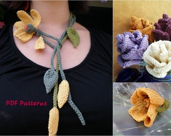 PDF Knit Flowers Pattern Set - He Loves Me Lariat, Rose Bud, Poppy