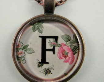 """Initial """"F"""" Necklace -- Spring pattern Personalized Letter F Necklace, Wedding Necklace, Bridesmaid Necklace, Hen Night Necklace, Friendship"""