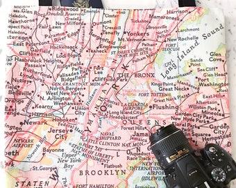 New York City Map Tote - New York City Map Bag - New York City Tote Bag - New York City Bag - Travel Tote - Charleston Tote - NYC Tote