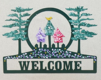 Birdhouse Metal Welcome Sign