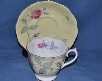 Beautiful Vintage, Royal Albert, With Yellow Glaze And Pink Roses, Fine Bone China Teacup And Saucer