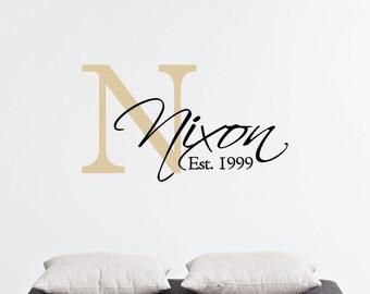 Custom Family Last Name & Monogram - Family Vinyl Wall Art Decal, Last Name Vinyl, Personalized Vinyl, Home Decor, Living Room Vinyl, 23x13