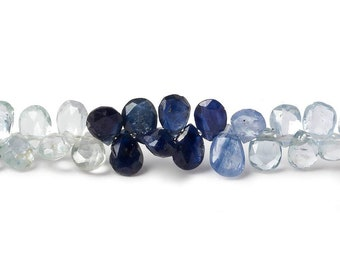 Fancy Sapphire Beads, Faceted Pear Beads, Blue Sapphire, Pink Sapphire, White Sapphire, Yellow Sapphire, Sapphire Briolettes, Corundum |10