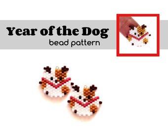 Year of the Dog Bead Pattern, Brick Stitch