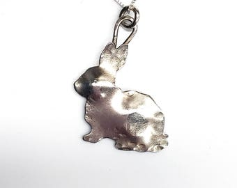 Bunny Rabbit Pendant, Sterling Silver, Pet Bunny Charm Necklace
