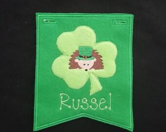 Hedgehog St Patricks Day Banner Personalized