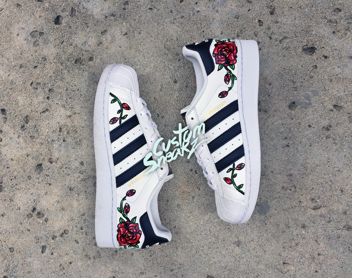 adidas shoes with roses
