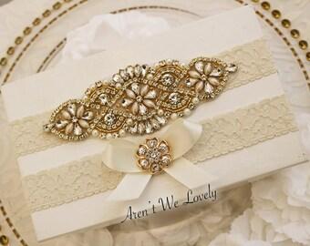 Gold Bridal Garter, Bridal Gift, Bridal garter, wedding garter, ivory garter, garter belt, crystal garter, pearl garter, keepsake garter