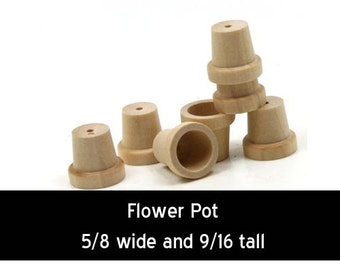 Unfinished Wood Flower Pot - 5/8 inches tall and  9/16 inches wide wooden shapes (WW-FP0625)