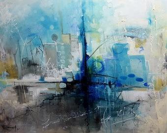 Tableau moderne, peinture abstraite - Distraction - Format 73 cm x 60 cm - Artiste peintre Bruni