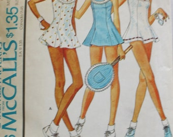 McCall's 4466 / Princess Seamed Tennis Dress / Vintage Sewing Pattern / League Play / 1970s