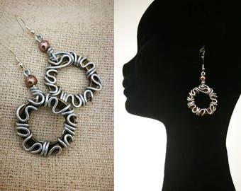 Freeform wire wrapped hoop earrings