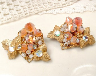1940's Miriam HASKELL Blush Coral Earrings OR Bridal Hair Pins, Vintage Wedding Givre Opal Rhinestone Gold Leaf Autumn Fall Clip On Back