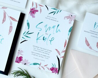 The Sarah Wedding Invitation Suite, Modern Wedding Invitation Suite, Printable Wedding Invitation, Brush Calligraphy, Watercolor