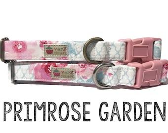 """Girly Vintage Inspired Light Pink Ice Frappe Coral Pink Floral Flowers Dog Collar - Antique Metal Hardware - """"Primrose Garden"""""""