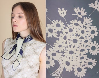 Vintage Silk Japanese Floral Scarf | 60s 70s Blue White Boho Ascot