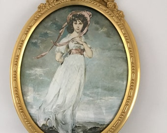 Stunning Metal Oval Italian Ornate Frame with convex glass and print of pretty young lady - Italian roccoco  style