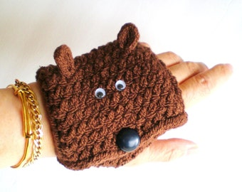 Women Glove / Cuff Wrist Wallet (to carry id, badges, mp3, iPod, etc) - Choice of Bear Glove Wallet