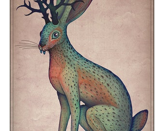 Jackalope -  A4 art print