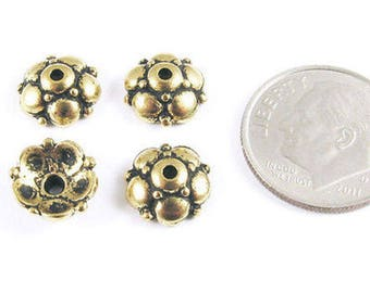 TierraCast Pewter Bead Caps-Antique Gold Eastern 9mm (4)