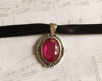 Pink Choker Necklace, Choker Necklace, Pink Choker, Pink Necklace, Goth Choker, Victorian Choker, Victorian Choker Necklace, Gift under 25