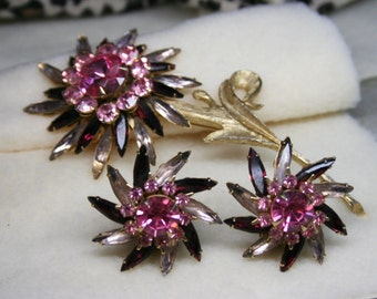 Vintage 1950s Judy Lee Pink & Gold Tone Stem Flower Brooch + Clip-On Earring Set Signed Rare