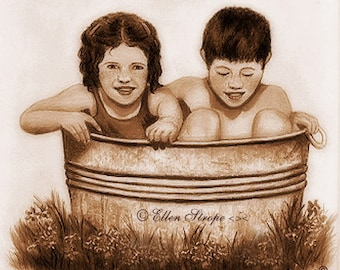 NOTE CARD, Children, Cooling Off, Summer, Blank Note Card, Kids, Cards