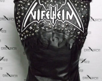 Extreme Leather Vest with spikes