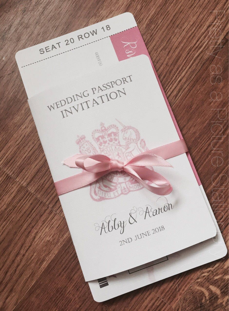 SAMPLE wedding passport invitationabroad wedding
