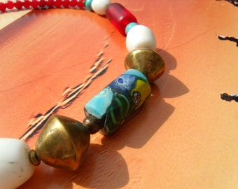 Old trade beads Millefiori brass of beads necklace red agate