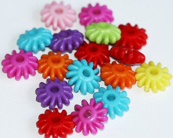 50 pcs of Colorful Acrylic flower beads 17x7mm - Assorted color