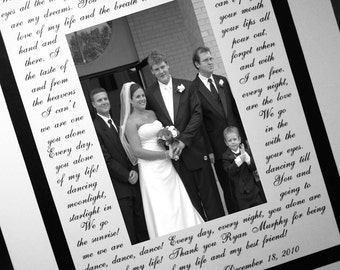 Wedding Gift, Bridal Shower Gift, Anniversary Gift, Personalized Photo Mat with song lyrics, Lyrics Frame, vows, Wedding Gift for Parents