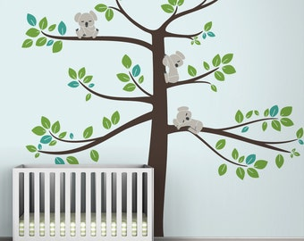Kids wall decal koala tree baby room decor koalas large tree - Koala Tree Extra Large by LittleLion Studio